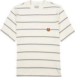 Cream striped cotton T-shirt