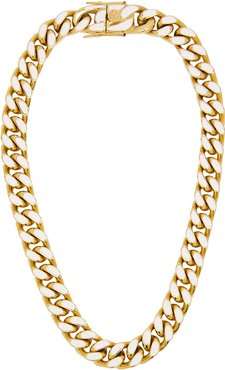 Enamel gold-plated chain necklace
