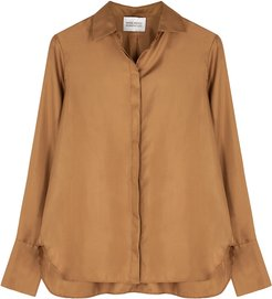 Bertine brown silk-twill blouse