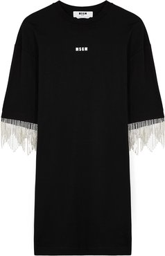 Black crystal-embellished cotton T-shirt dress