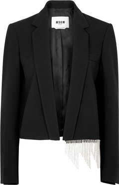 Black crystal-embellished cady blazer