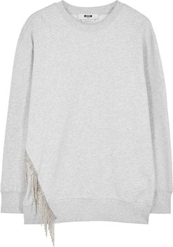 Light grey crystal-embellished cotton sweatshirt
