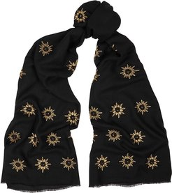The Lillian black embroidered cashmere scarf