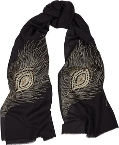 The Leigh Eye black embroidered cashmere scarf