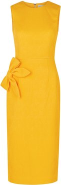 Andie yellow bow-embellished midi dress