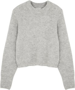 East grey rib-knit jumper