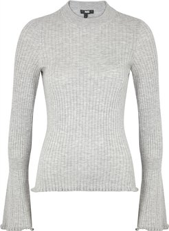 Iona grey ribbed cotton-blend jumper