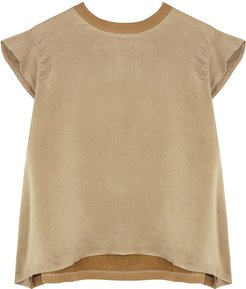 Taupe cotton and brushed silk top
