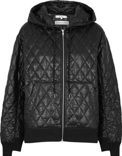 Black quilted ripstop shell jacket