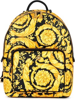 Baroque-print leather backpack