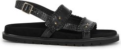 Turnover Mold black leather sandals