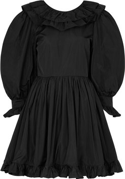 Black ruffle-trimmed taffeta dress