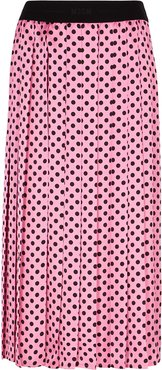 Pink polka-dot satin midi skirt
