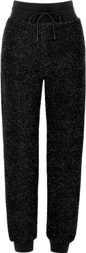 Black lamé sweatpants