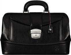 Finest Italian Black Leather Traditional Doctors Bag