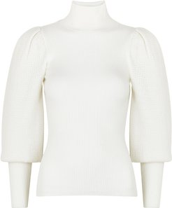 Babette white wool-blend jumper