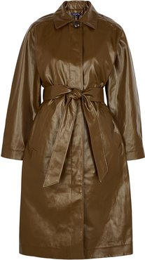 Laurent olive coated cotton trench coat