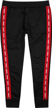 Black logo-trimmed jersey sweatpants