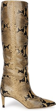65 python-effect leather knee-high boots
