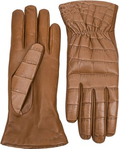 Brown crocodile-effect leather gloves