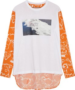 Printed poplin and jersey top