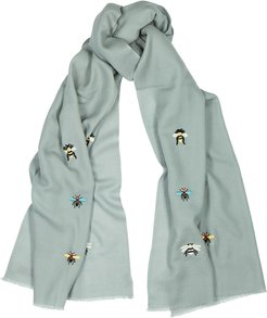 Beehive grey embroidered merino wool scarf