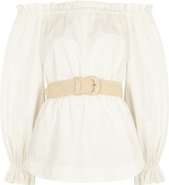 Kenza white belted cotton top