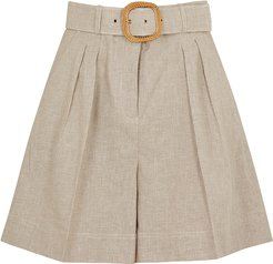 Zohra brown belted woven shorts