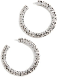 Stacked Crystal Round Hoops