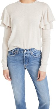 Double Ruffle Crew Cashmere Sweater