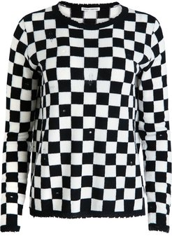 Distressed Checkerboard Cashmere Crew Sweater