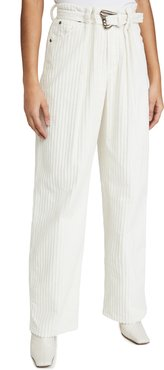 Pleated Utility Pants with Self Belt