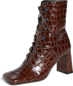 Claude Croco Lace Up Booties