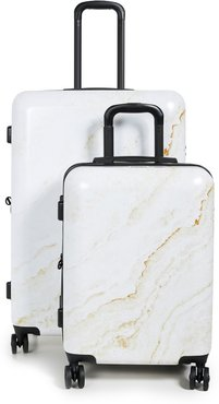 Gold Marble Two Piece Suitcase Set