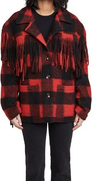 Fringe Plaid Coat