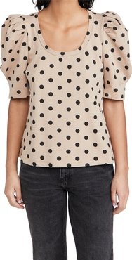 Dotted Puff Sleeve T-Shirt