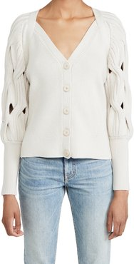 Kinley Open Cable Puff Sleeve Cardigan