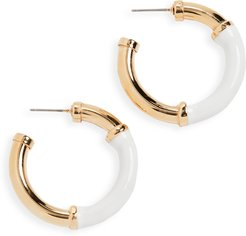 Small Gold and White Earrings