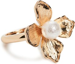 Gold Ring with Imitation Pearl Center Flower