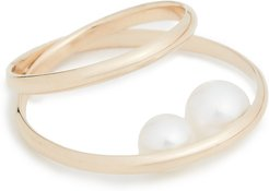 14k Elipse Ring with Pearl