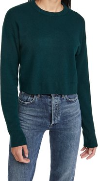 Relaxed Cropped Cashmere Crew Sweater