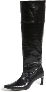 Pointed Square Mid-Heel Long Boots