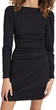 Long Puff Sleeve Ruched Dress