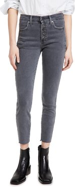 Debbie High Rise Jeans with Piping and Raw Hem