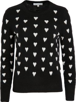 Polka Heart Crew Neck Cashmere Sweater
