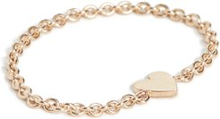 14k Gold Itty Bitty Heart Chain Ring