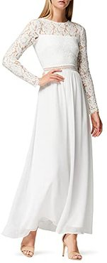 Marchio Amazon - TRUTH & FABLE Maxi Dress A-Line in Pizzo Donna, Bianco (bianco)., 44, Label: M