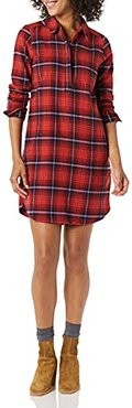 Brushed Flannel Popover Dress Dresses, Plaid Scozzese Rosso, XL