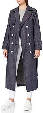 Marchio Amazon - find. Trench di Jeans Donna, Blu (Navy), 42, Label: S