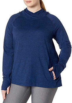 Plus Size Brushed Tech Stretch Popover Hood Fashion-Hoodies, Navy Space Dye, 6x